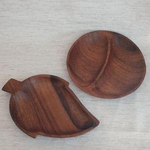 Wooden Dish Set - Genuine Monkey Pod -Leaf & Round